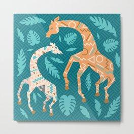 Giraffes in Teal + Peach Metal Print