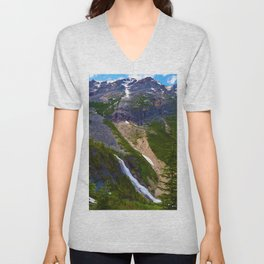 Geraldine Waterfall located in Jasper National Park, Canada Unisex V-Neck