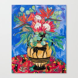 Tropical Protea Bouquet with Toucans in Greek Horse Urn on Ultramarine Blue Canvas Print