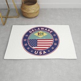 Delaware, Delaware t-shirt, Delaware sticker, circle, Delaware flag, white bg Rug