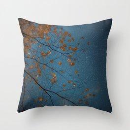 Burnt Orange Leaves on Midnight Blue Sky Throw Pillow