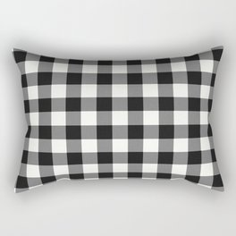 Black and White Country Buffalo check with digital canvas texture Rectangular Pillow
