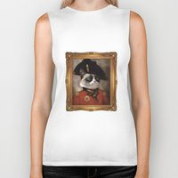 grumpy Biker Tanks featuring Angry cat. Grumpy General Cat.  by UiNi