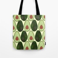 avocado Tote Bags featuring Avocado by SarahBoltonIllustration
