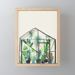 Tropical Greenhouse with Blue Potted Plants - Beige Background Framed Mini Art Print