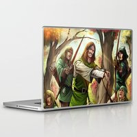 robin hood Laptop & iPad Skins featuring Robin Hood and his Merry Women by Eco Comics