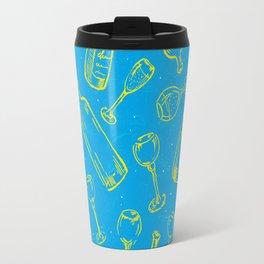 Bottles&Glasses Blue Travel Mug