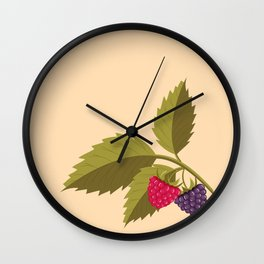 sprig with raspberry Wall Clock