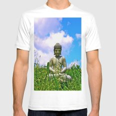 Buddha Takes the Field Mens Fitted Tee White MEDIUM