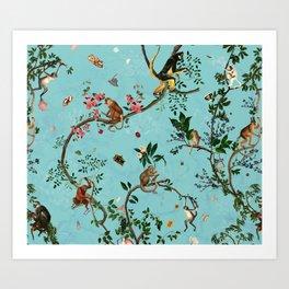Monkey World Aqua Art Print