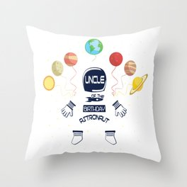 Uncle Of The Birthday Astronaut Boy And Girl Space Theme graphic Throw Pillow