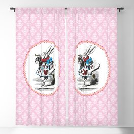 Alice in Wonderland | The Herald of the Court of Hearts | White Rabbit | Pink Damask Pattern | Blackout Curtain