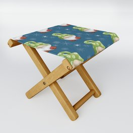 Blue Winter Gnome Pattern Folding Stool