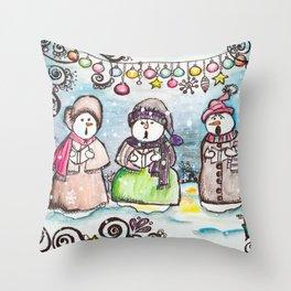 Holiday Snowman Singing Trio Throw Pillow