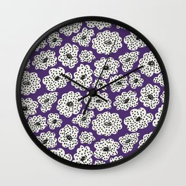 Spotted modern floral on purple Wall Clock