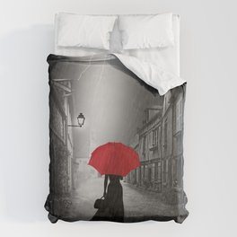 Alone in the rainy night Duvet Cover