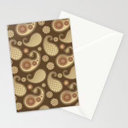 Paisley pattern, Soft Gold on Chocolate Brown Stationery Cards