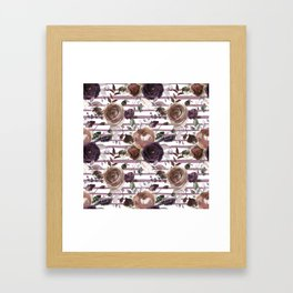 Lavender lilac brown watercolor botanical roses stripes Framed Art Print