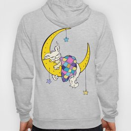 Dream on the Moon. Cute dog sleeps on the Moon.  Hoody