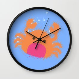 Orange Cartoon Crab Wall Clock