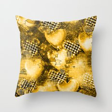 Light Bulb Hearts Series (Gold) Throw Pillow