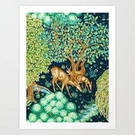 William Morris Deer by a Brook Tapestry Indigo Art Print