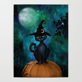 Witch's Familiar on a Pumpkin Poster