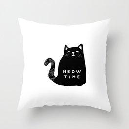 Meow time black cat Throw Pillow