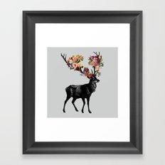 Spring Itself Deer Floral Framed Art Print