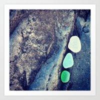 White, Aqua, Green Art Print