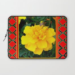 DECORATIVE TEAL-RED & YELLOW  MARIGOLD FLORAL Laptop Sleeve