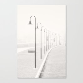The street lamps in the dock of Senigallia, Italy Canvas Print