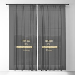 Future Self Download Black | Manifestation Alignment Spiritual Quote Sheer Curtain
