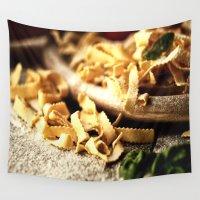 pasta Wall Tapestries featuring Italian Pasta Enjoyment by Tanja Riedel