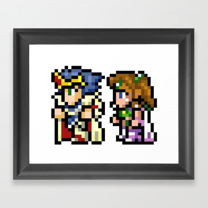 Final Fantasy II - Cecil and Rosa Framed Art Print