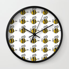 Hand drawn black yellow stripes cute honey bee illustration Wall Clock