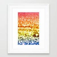 glitter Framed Art Prints featuring Rainbow Glitter Sparkles by Whimsy Romance & Fun