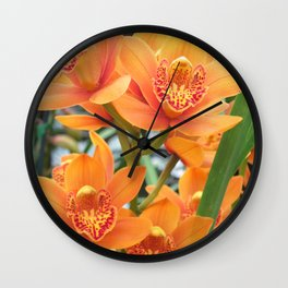Orchid in Orange Wall Clock