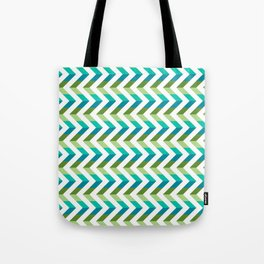 Chevron Picnic Time - Geometric pattern with blue and green Tote Bag