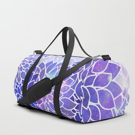 Space Dahlias Fuchsia Purple Blue Duffle Bag