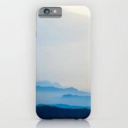Minimalist Landscape Blue Mountain Parallax iPhone Case