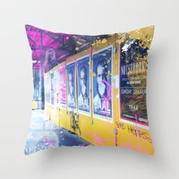 alisa burke Throw Pillows featuring purple and yellow _  little burke graffiti by Vin Zzep