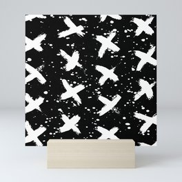 X Paint Spatter Black and White Mini Art Print