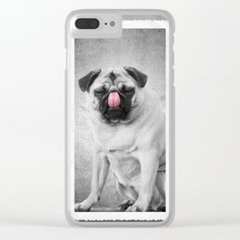 Lick Cute Pug Dog Licking Nose Clear iPhone Case