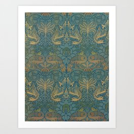 Peacock Dragon Morris Tan Blue Art Print