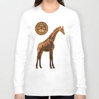 giraffes Long Sleeve T-shirts featuring Three Giraffes by Waelad Akadan