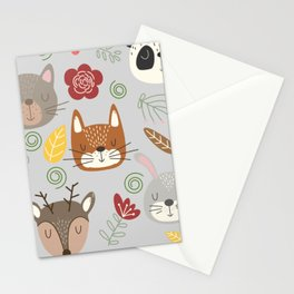Woodland animals kids pattern grey background Stationery Cards