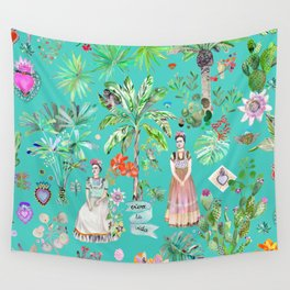 Frida Kahlo Botanics - Emerald Green Wall Tapestry