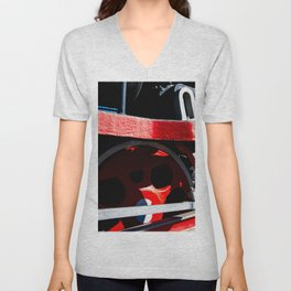 Mechanical Abstract Of A Driving Gear Of An Ancient Steam Engine Locomotive Unisex V-Neck