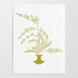 Olive Flowers in Vase Poster